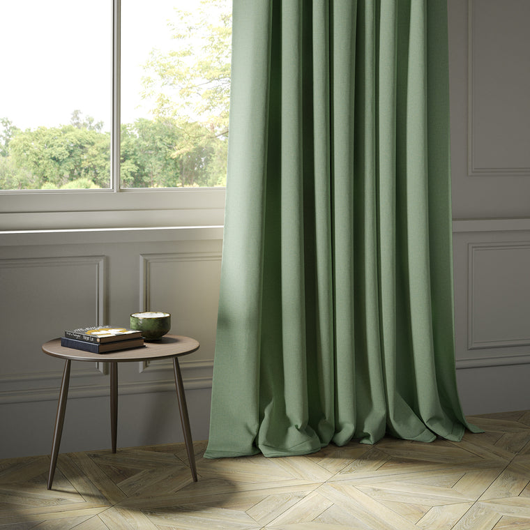 Curtains in a luxury Scottish plain mint green wool fabric