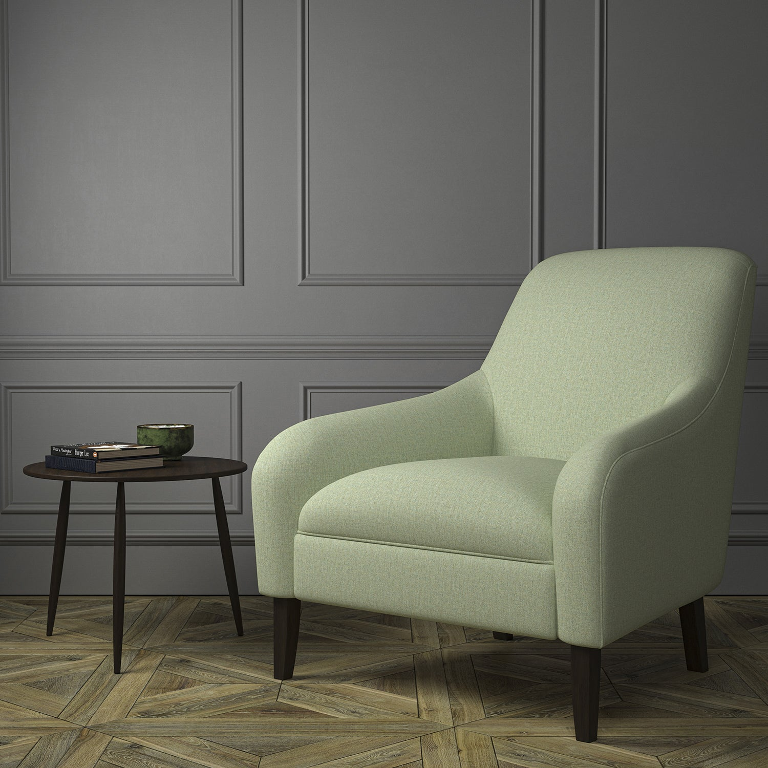 Chair upholstered in a luxury Scottish plain light green wool upholstery fabric