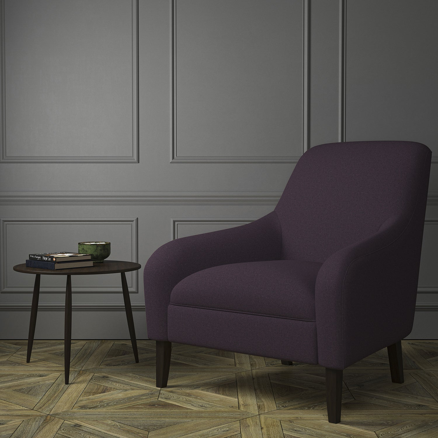 Chair upholstered in a luxury Scottish plain purple wool upholstery fabric