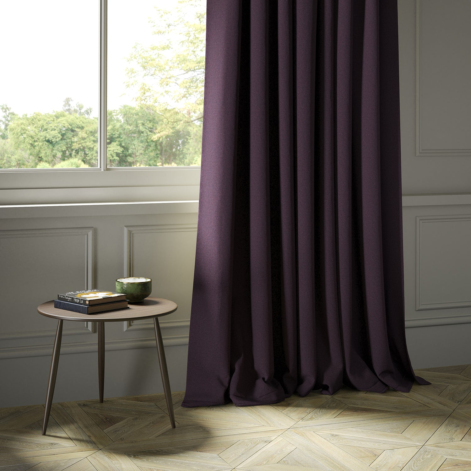 Curtains in a luxury Scottish plain purple wool fabric