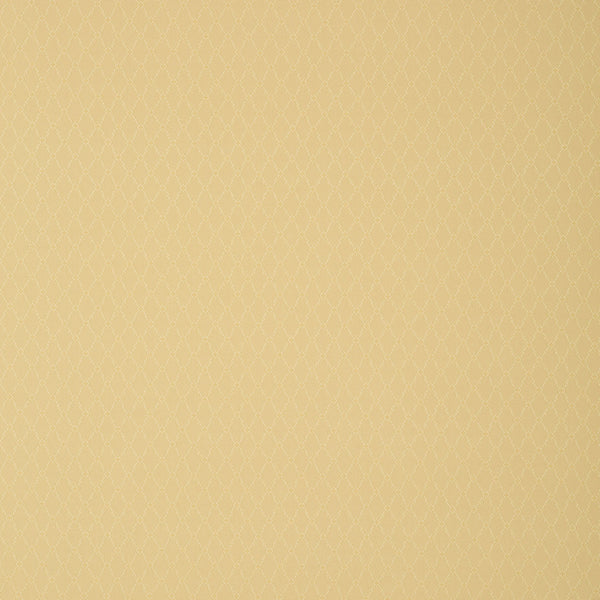 Fabric swatch of a gold fabric with trellis design for curtains and upholstery with a stain resistant finish