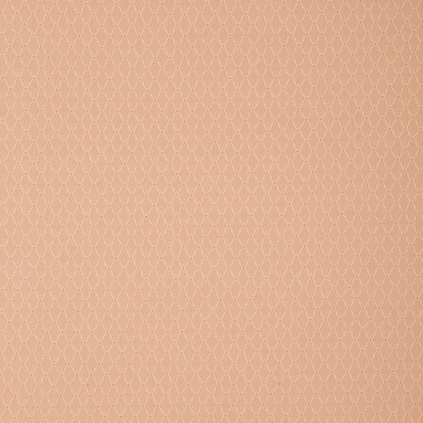Fabric swatch of a light pink fabric with trellis design for curtains and upholstery with a stain resistant finish