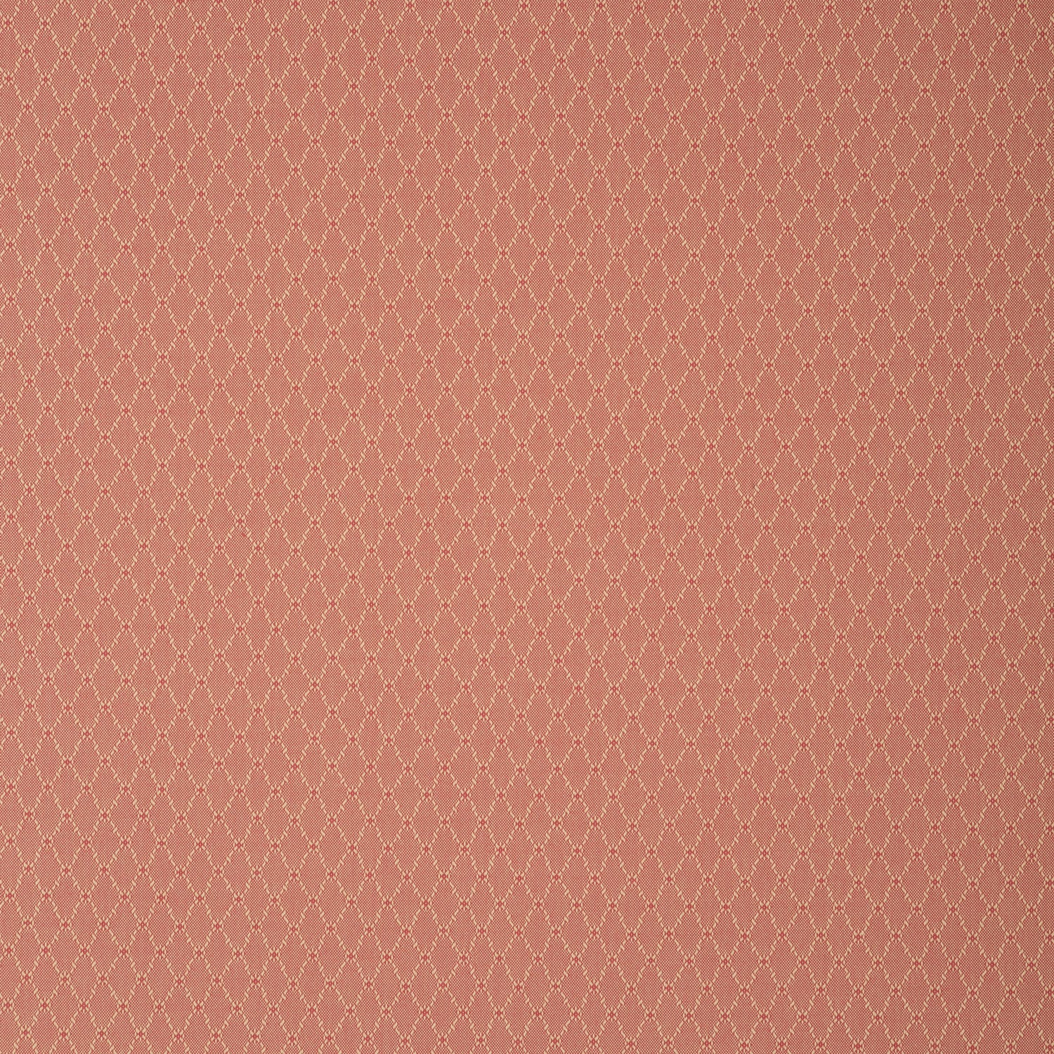Fabric swatch of a light red fabric with trellis design for curtains and upholstery with a stain resistant finish
