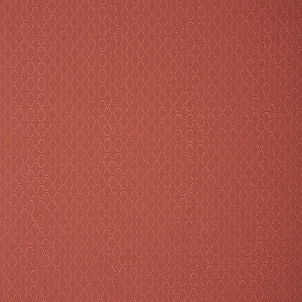 Fabric swatch of a red fabric with trellis design for curtains and upholstery with a stain resistant finish