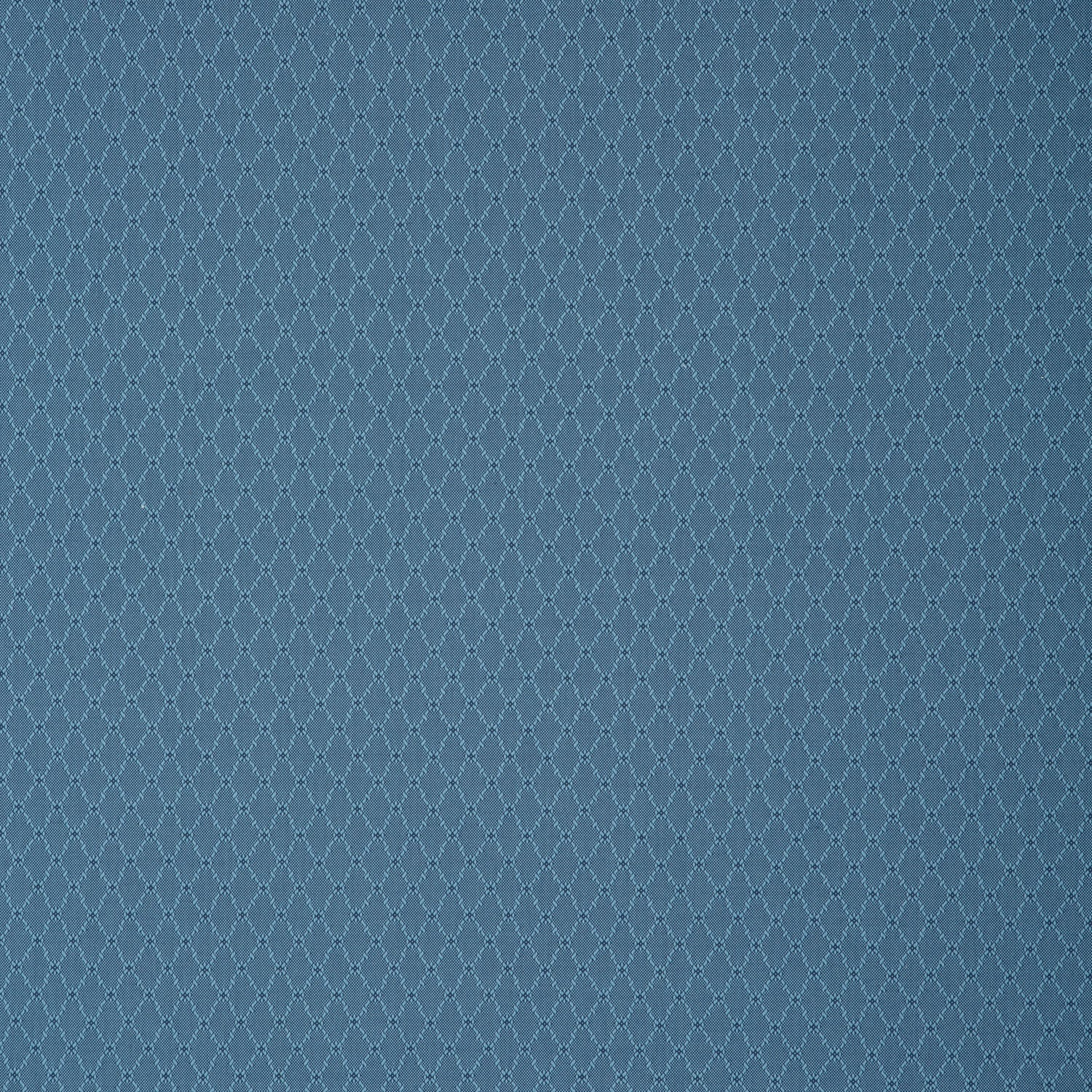 Fabric swatch of a blue fabric with trellis design for curtains and upholstery with a stain resistant finish