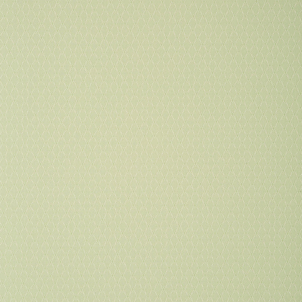 Fabric swatch of a light green fabric with trellis design for curtains and upholstery with a stain resistant finish