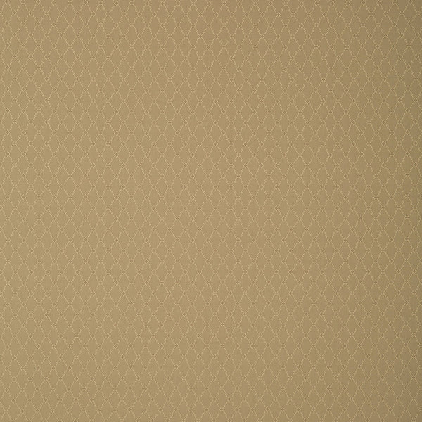 Fabric swatch of a khaki fabric with trellis design for curtains and upholstery with a stain resistant finish