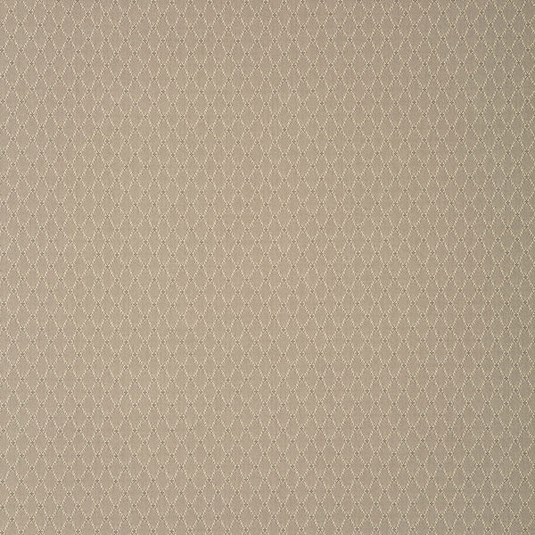Fabric swatch of a dark neutral fabric with trellis design for curtains and upholstery with a stain resistant finish