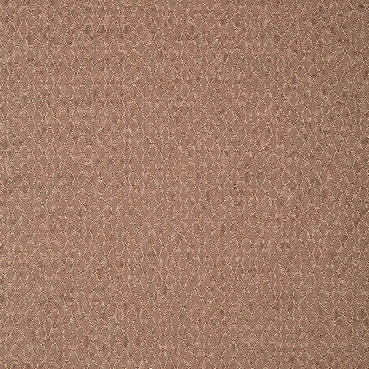 Fabric swatch of a brown fabric with trellis design for curtains and upholstery with a stain resistant finish
