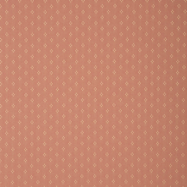 Fabric swatch of a light red fabric with small design for curtains and upholstery with a stain resistant finish