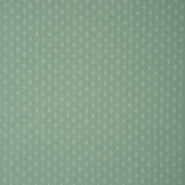 Fabric swatch of a green fabric with small design for curtains and upholstery with a stain resistant finish
