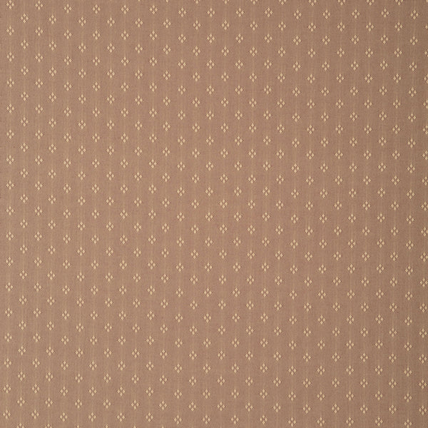 Fabric swatch of a light brown fabric with small design for curtains and upholstery with a stain resistant finish