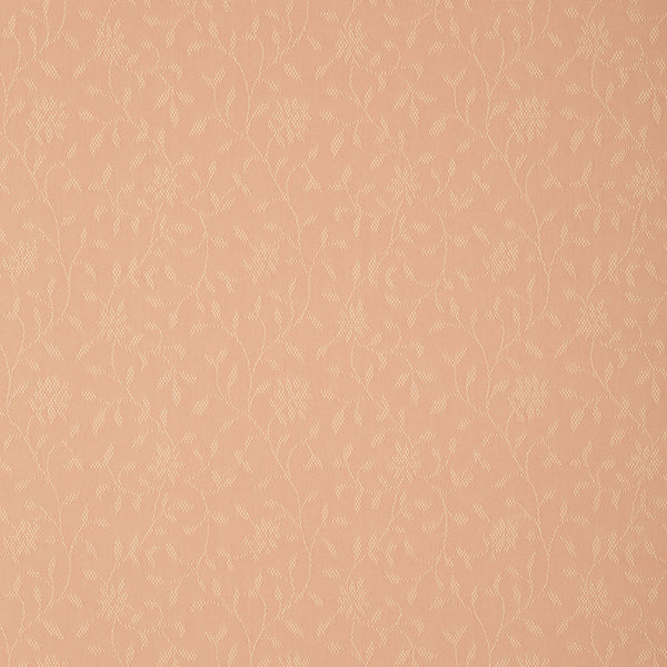 Fabric swatch of a light pink fabric with floral design for curtains and upholstery with a stain resistant finish
