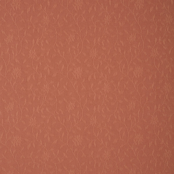 Fabric swatch of a terracotta fabric with floral design for curtains and upholstery with a stain resistant finish