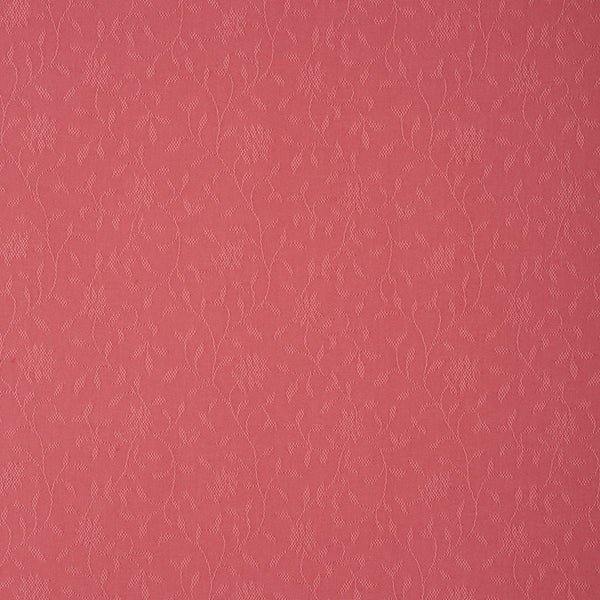 Fabric swatch of a red fabric with floral design for curtains and upholstery with a stain resistant finish