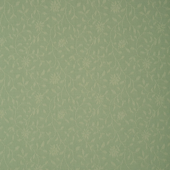 Fabric swatch of a green fabric with floral design for curtains and upholstery with a stain resistant finish