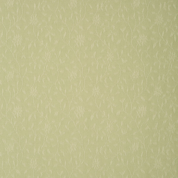 Fabric swatch of a light green fabric with floral design for curtains and upholstery with a stain resistant finish