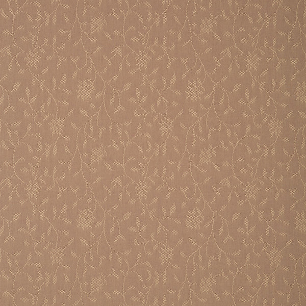 Fabric swatch of a brown fabric with floral design for curtains and upholstery with a stain resistant finish