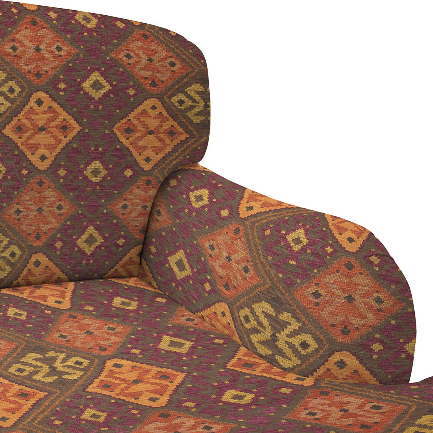 Chair upholstered in a dark berry, terracotta and neutral coloured Kilim upholstery fabric