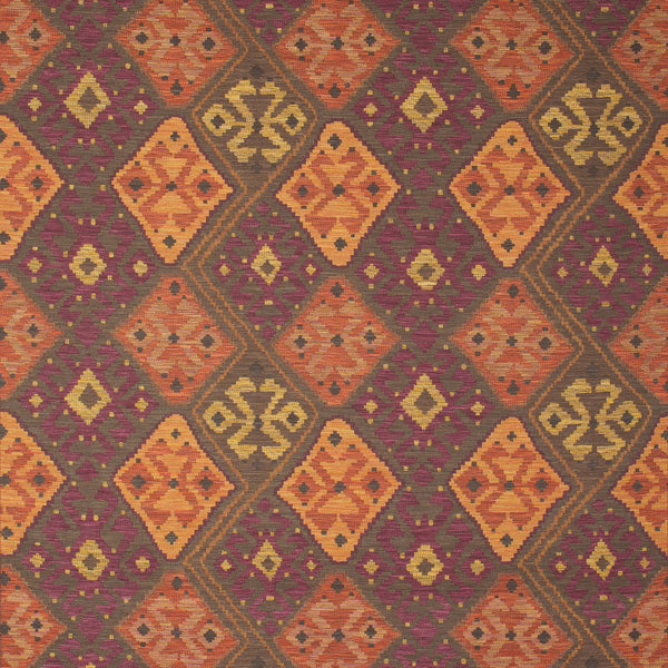 Fabric swatch of a dark berry, terracotta and neutral coloured Kilim fabric suitable for curtains and upholstery