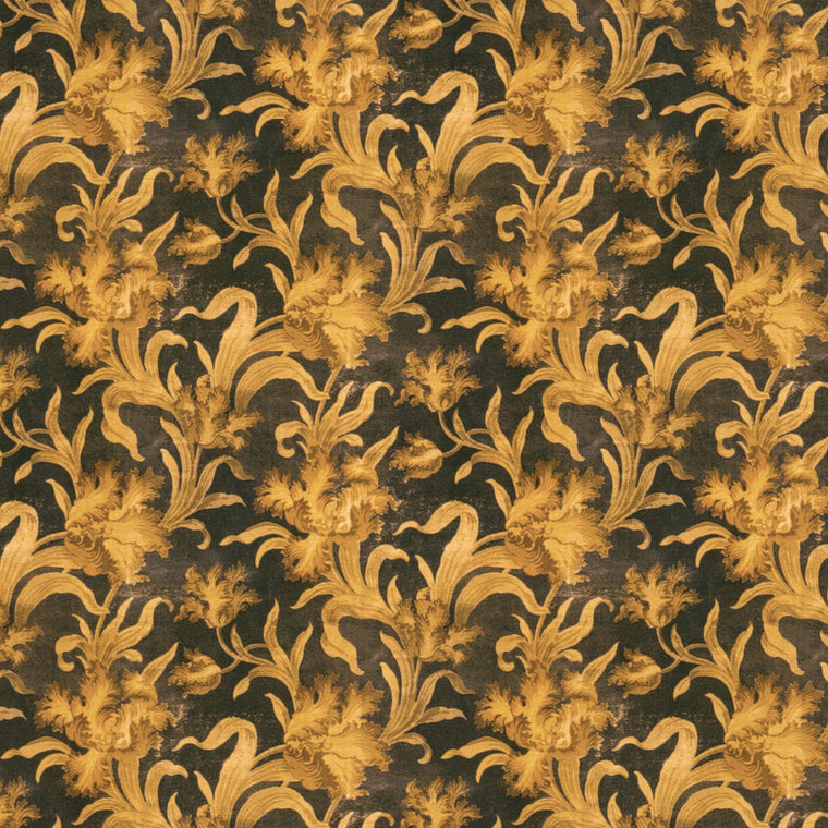 Luxurious cotton velvet with dark background and large gold toned yellow floral design.