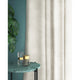 White velvet curtains with a stain resistant finish