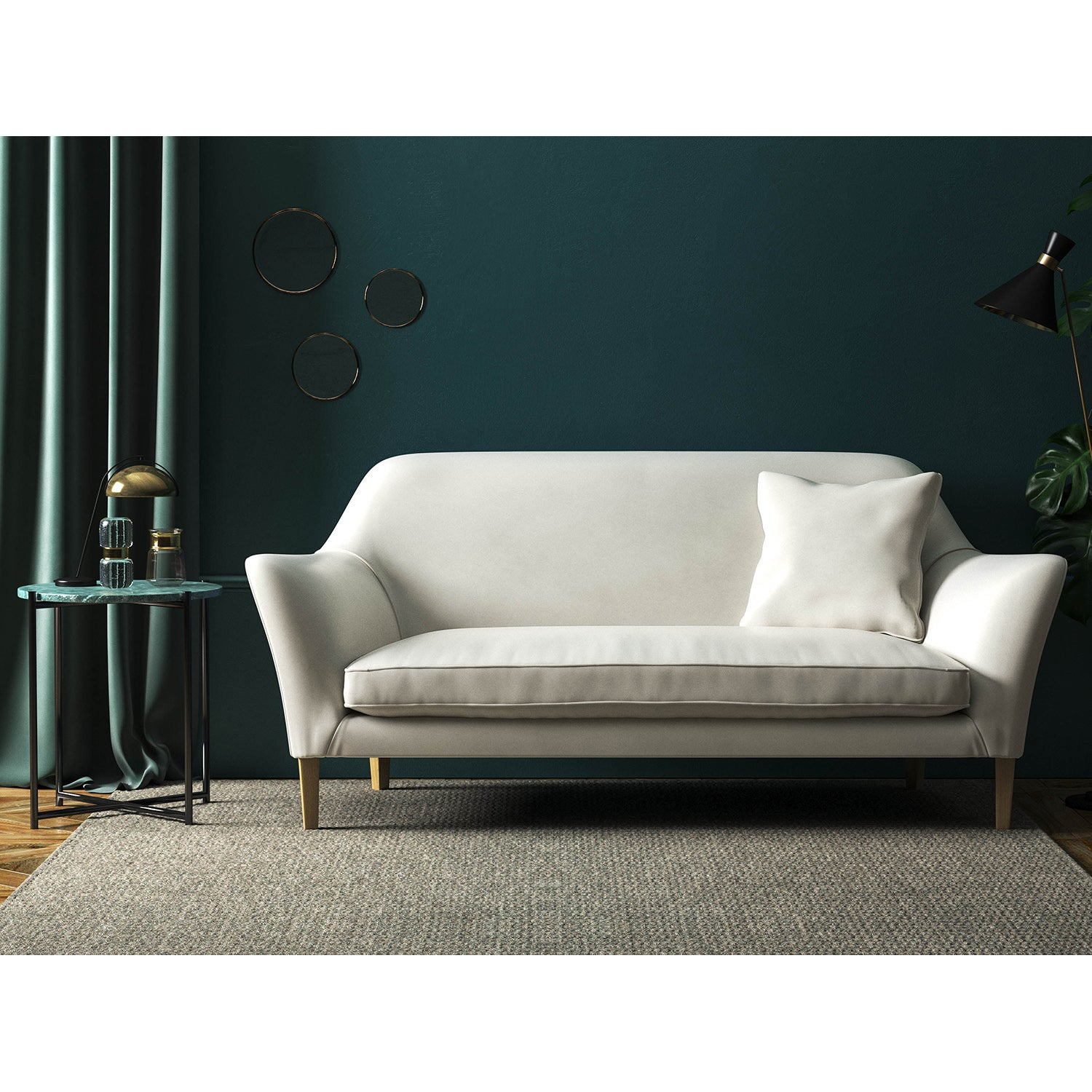 White velvet sofa with a stain resistant finish