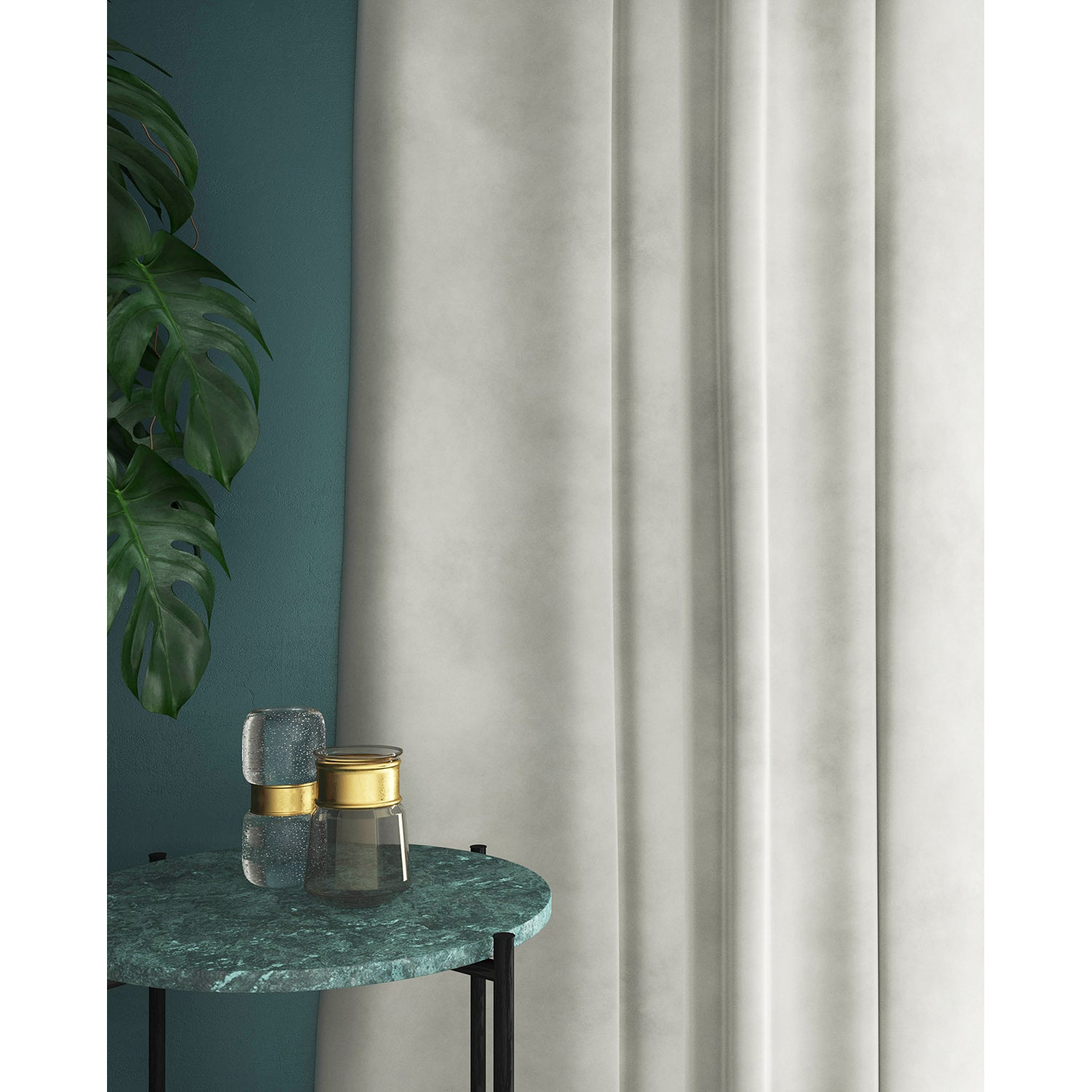 Curtains in a off-white plain velvet fabric with a stain resist finish