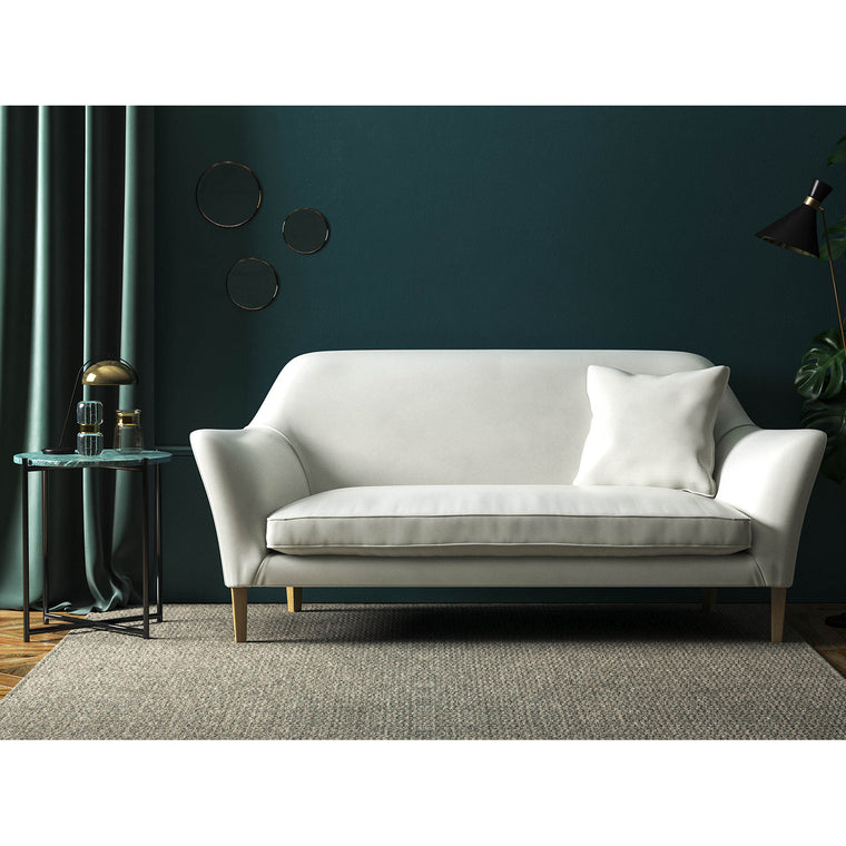 Sofa in a luxury off-white velvet upholstery fabric with a stain resistant finish