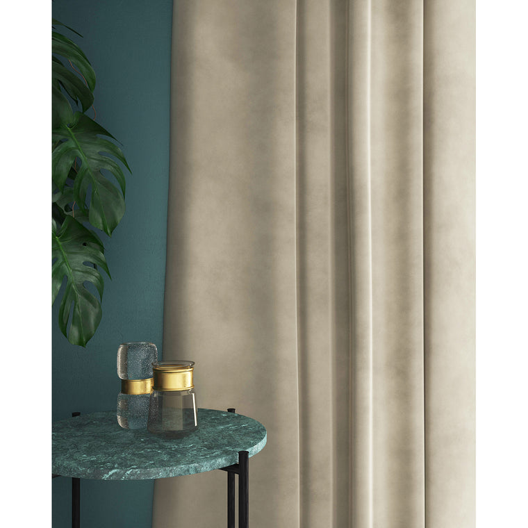 Curtains in a winter-white plain velvet fabric with a stain resist finish