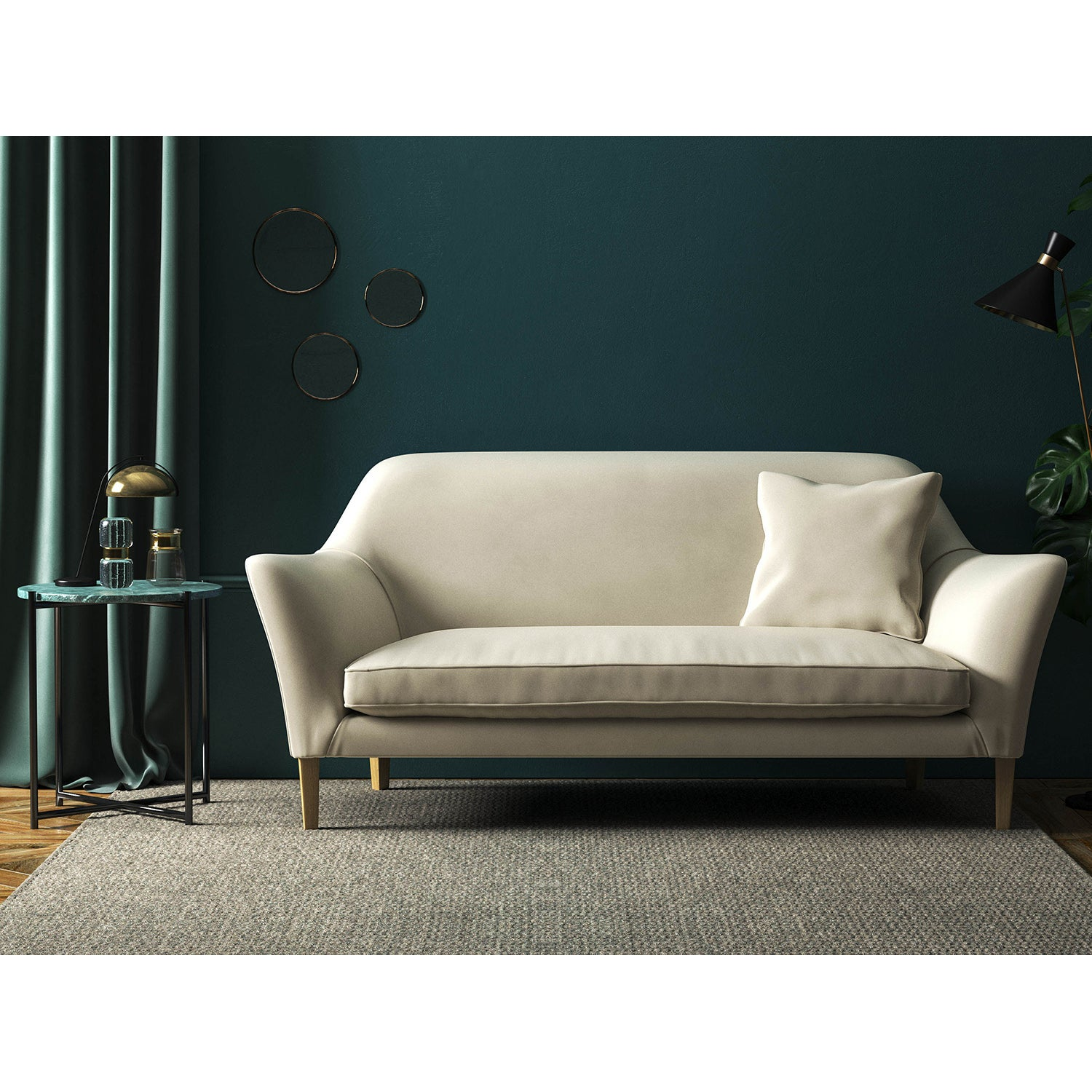 Sofa in a luxury winter-white velvet upholstery fabric with a stain resistant finish