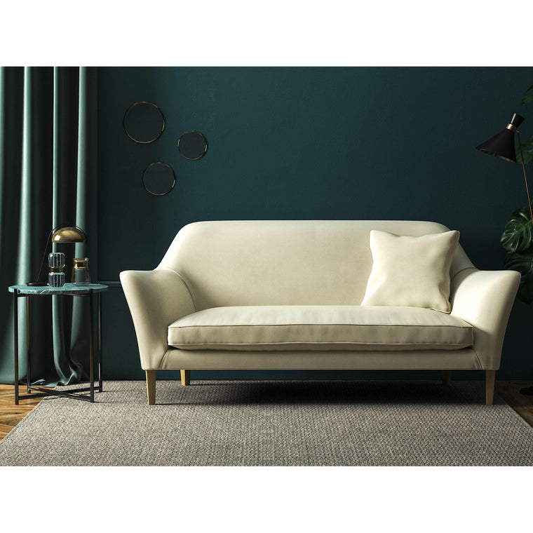 Sofa in a luxury cream velvet upholstery fabric with a stain resistant finish