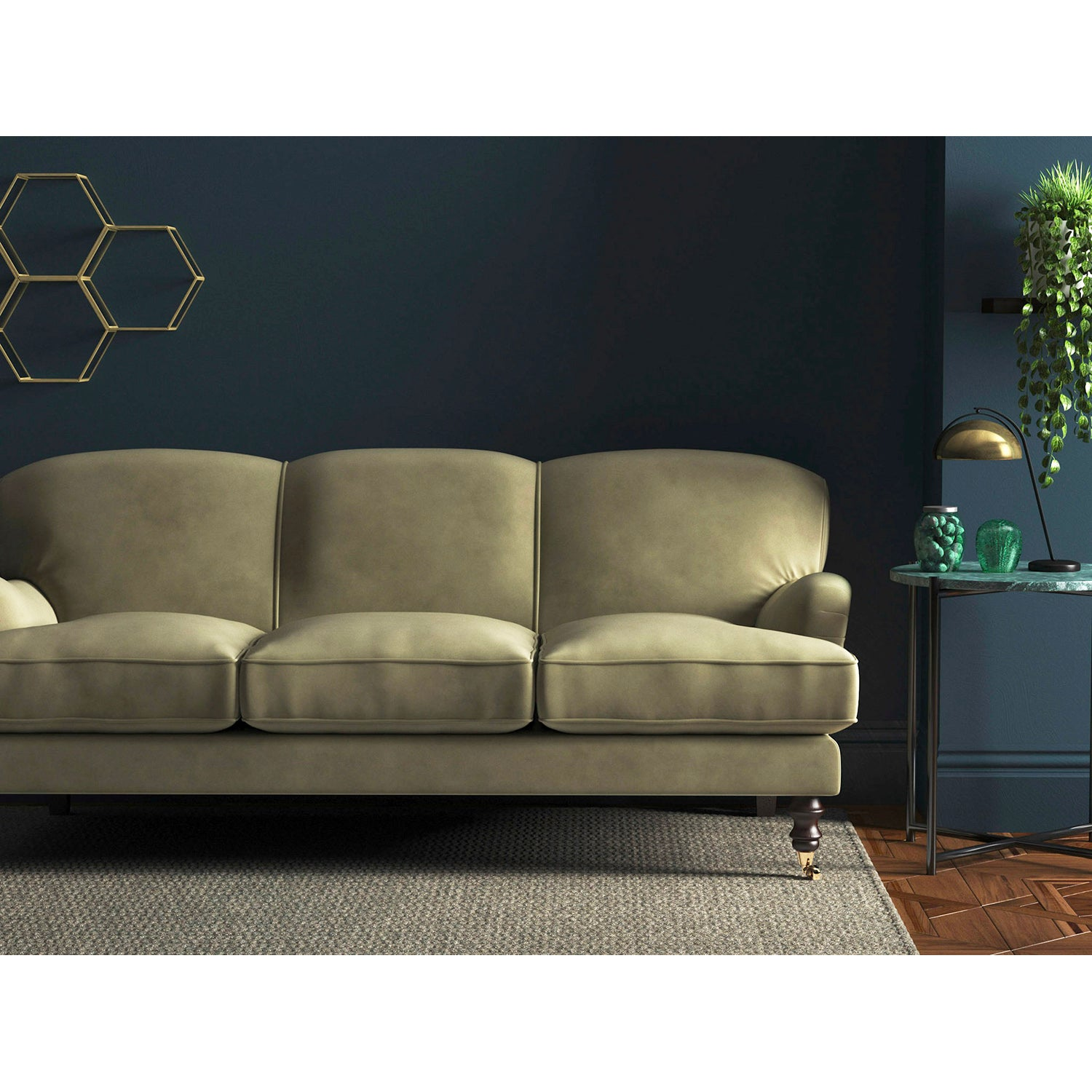 Sofa in a luxury neutral velvet upholstery fabric with a stain resistant finish