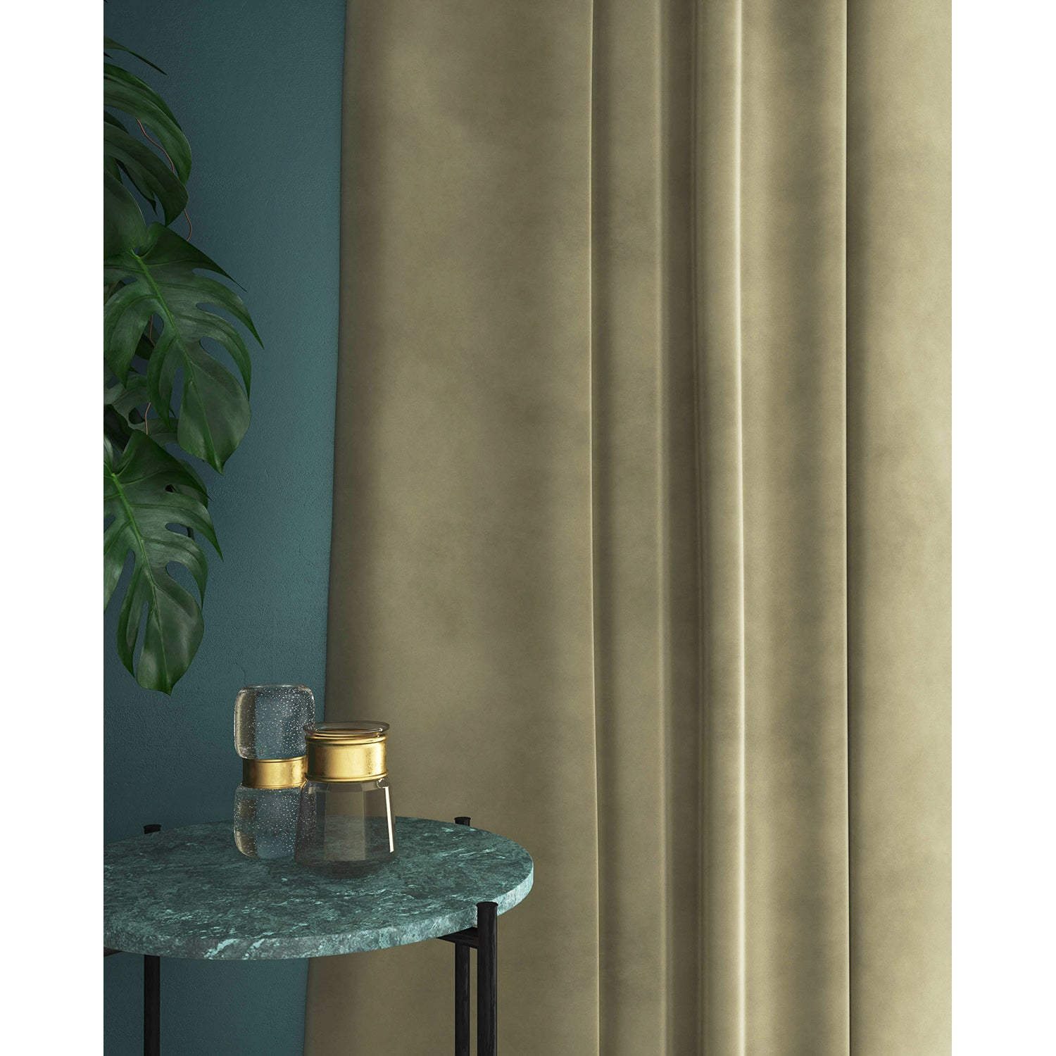Curtains in a neutral plain velvet fabric with a stain resist finish
