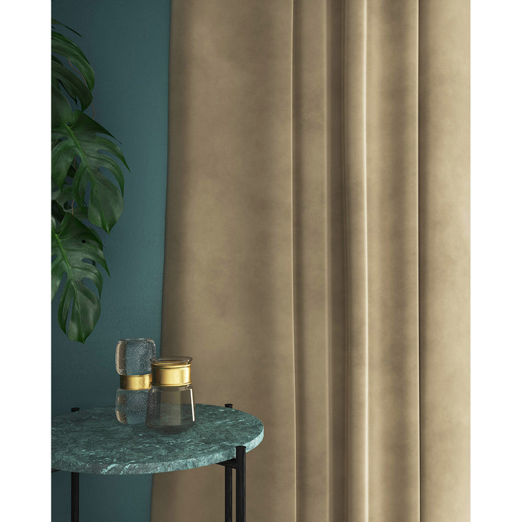 Beige velvet curtains with a stain resistant finish