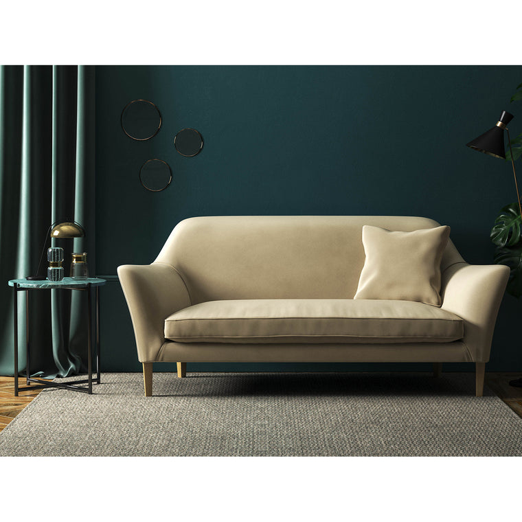 Sofa in a luxury sand coloured velvet upholstery fabric with a stain resistant finish
