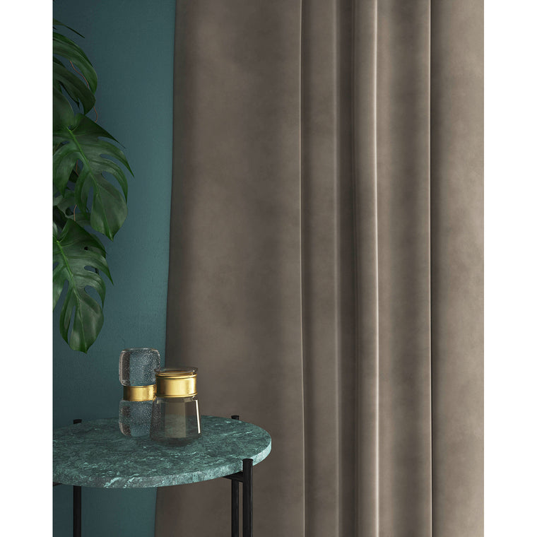 Curtains in a lilac toned grey plain velvet fabric with a stain resist finish