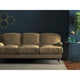 Beige velvet sofa with a stain resistant finish