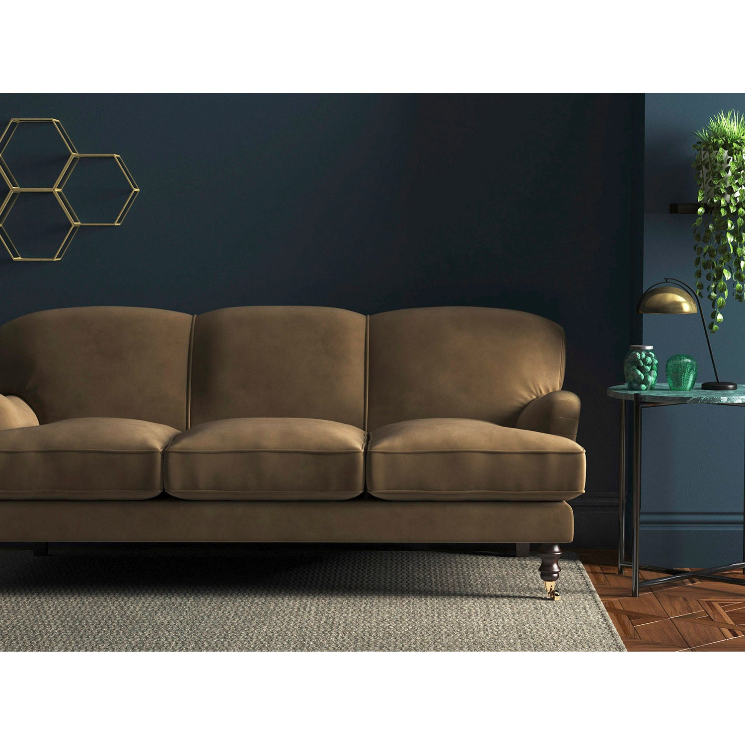 Sofa in a luxury light brown velvet upholstery fabric with a stain resistant finish