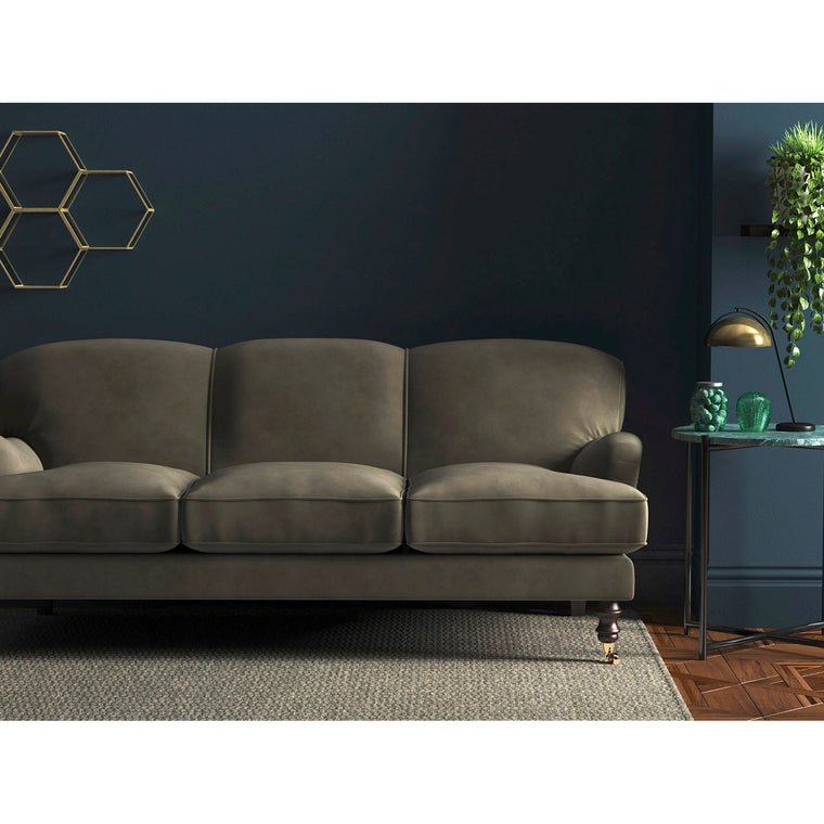 Sofa in a luxury dark neutral velvet upholstery fabric with a stain resistant finish