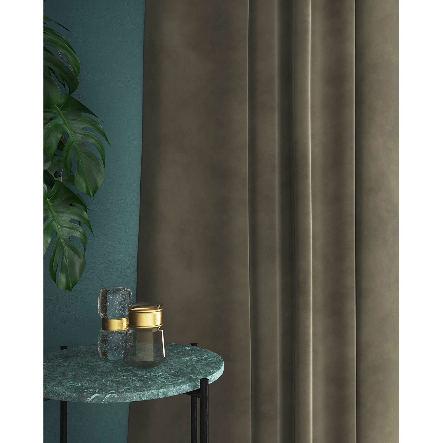 Curtains in a dark neutral plain velvet fabric with a stain resist finish