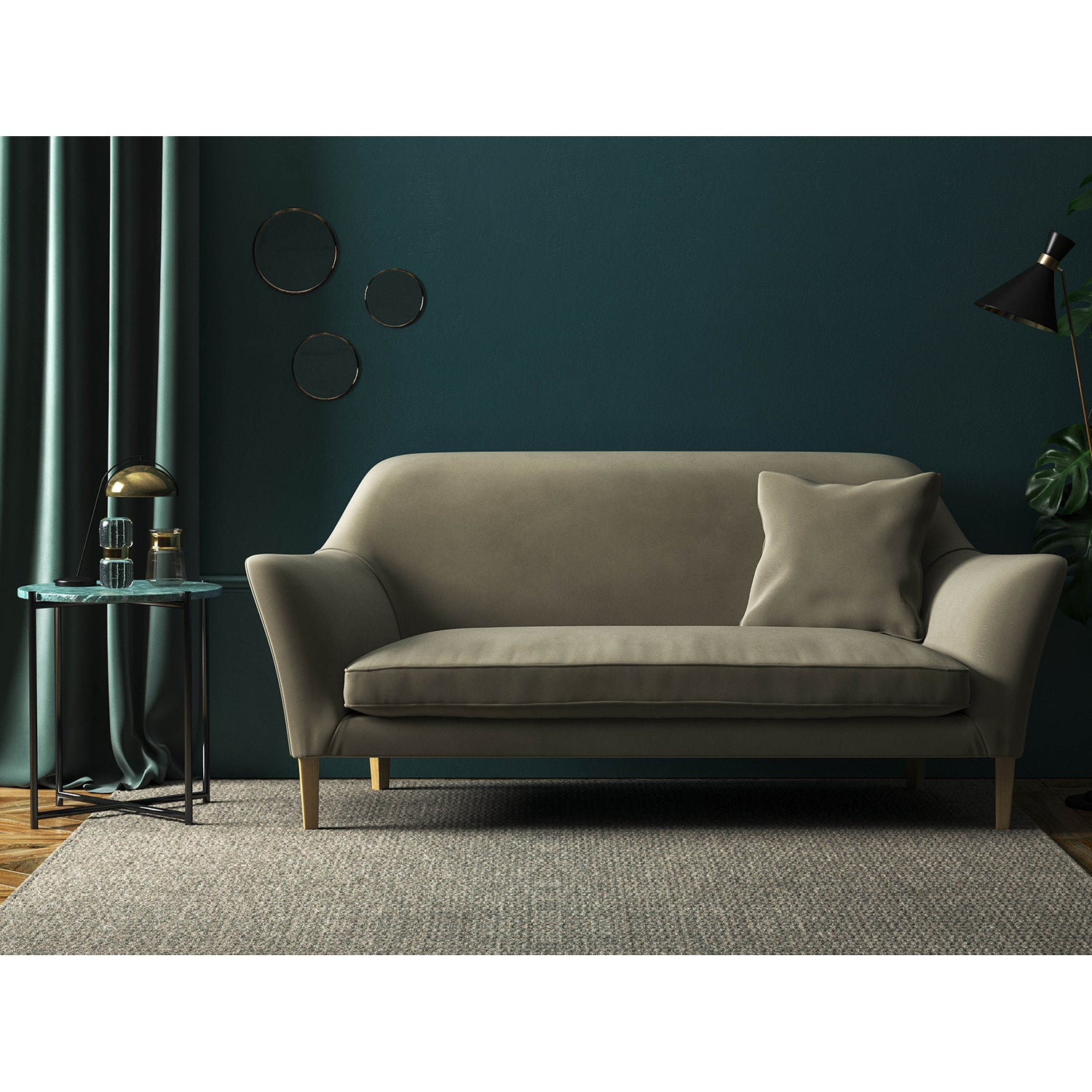 Dark neutral velvet sofa with a stain resistant finish