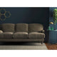 Taupe velvet sofa with a stain resistant finish