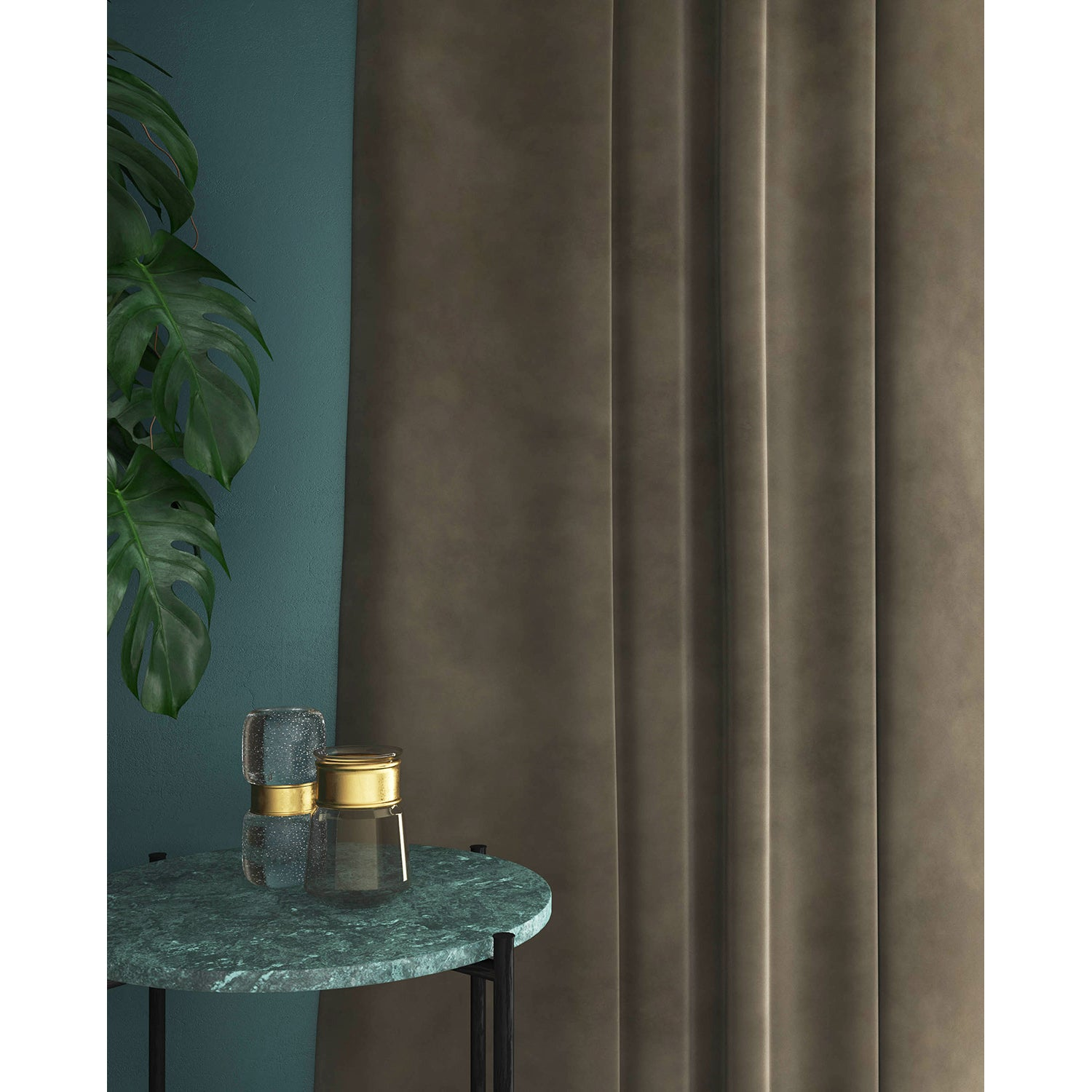 Curtains in a taupe plain velvet fabric with a stain resist finish