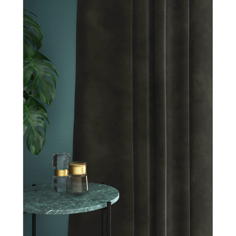 Curtains in a dark mink coloured velvet fabric with a stain resist finish