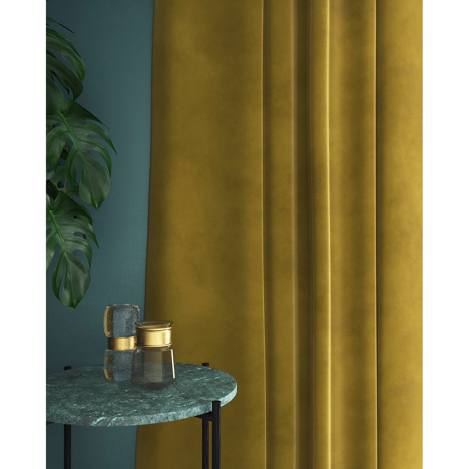 Gold velvet curtains with a stain resistant finish
