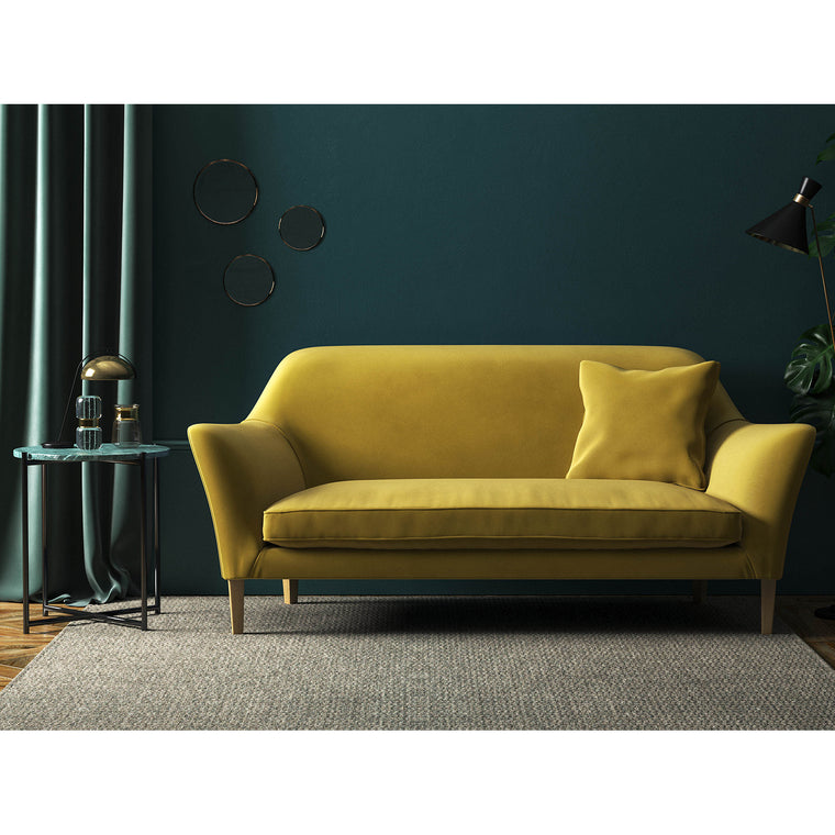 Gold velvet sofa with a stain resistant finish