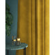 Mustard yellow velvet curtains with a stain resistant finish