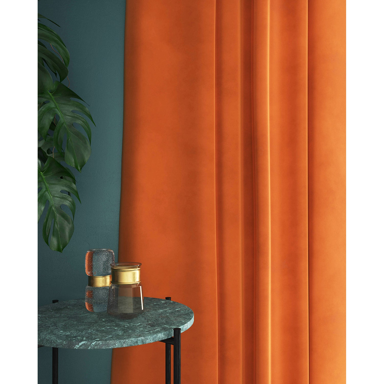 Orange velvet curtains with a stain resistant finish