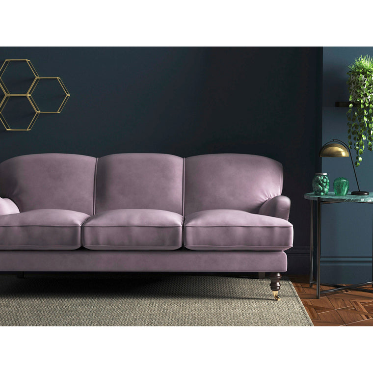 Lilac velvet sofa with a stain resistant finish